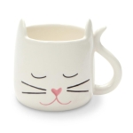 White Sculpted Cat Lover Coffee Mug (Cup) 12 Oz by Our Name Is Mud from Enesco