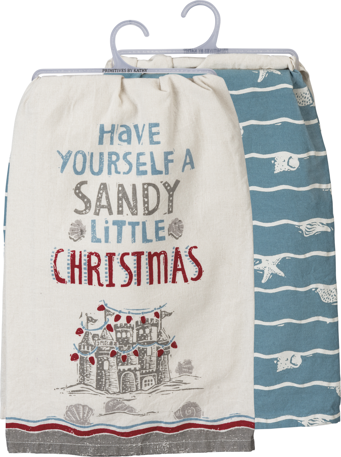 Have Yourself A Sandy Little Christmas Cotton Dish Towel Set 28x28 Set Of 2 From Primitives By Kathy