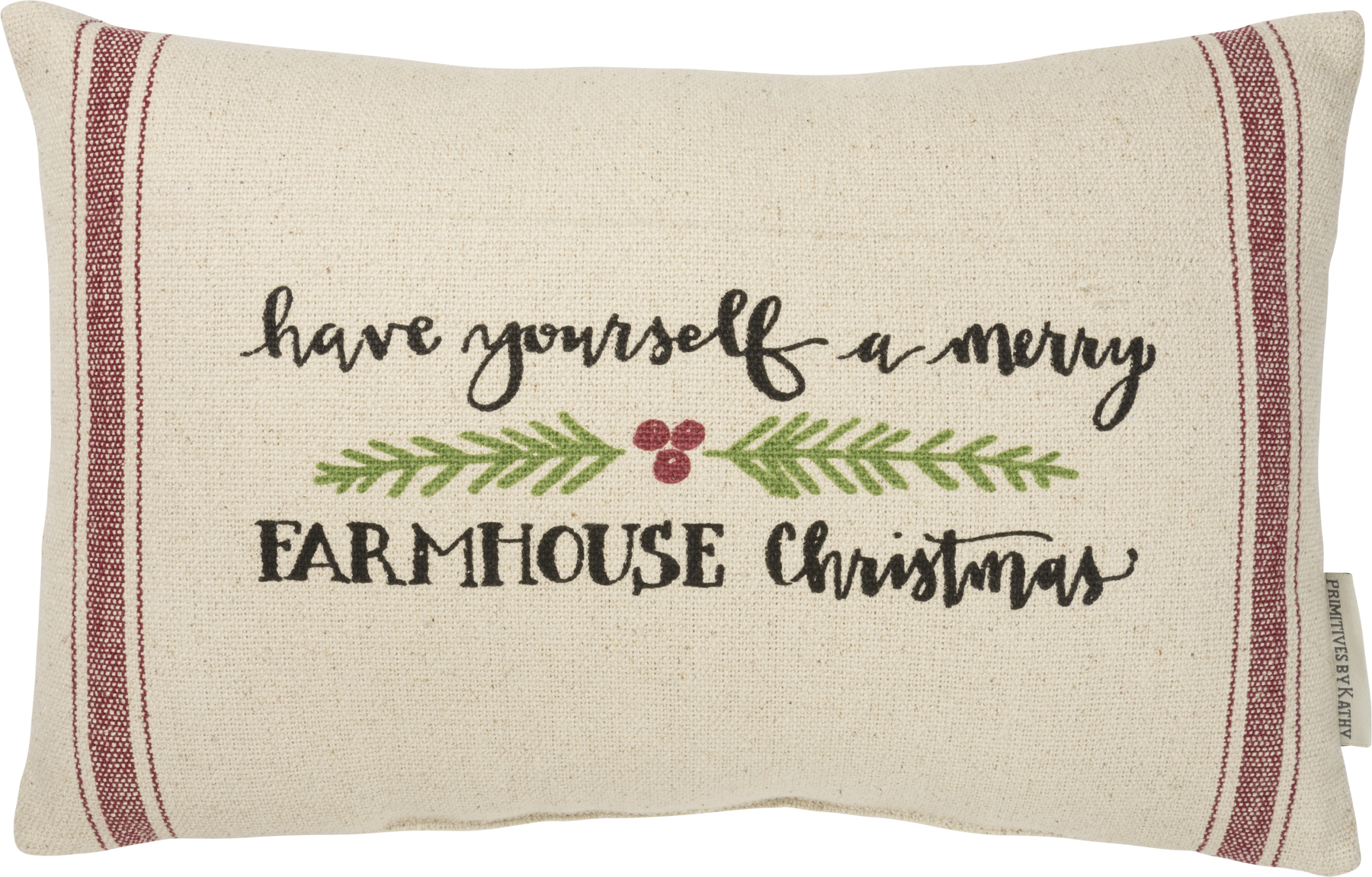 Have Yourself A Merry Farmhouse Christmas Decorative Cotton Throw Pillow 15x10 From Primitives By Kathy