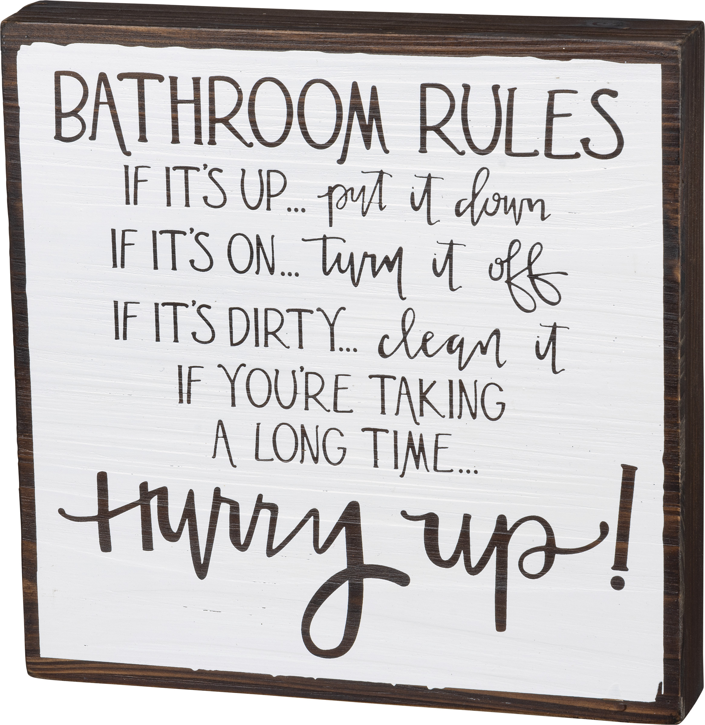 Bathroom Rules Home Decor Decorative Wooden Box Sign 10x10 From Primitives By Kathy