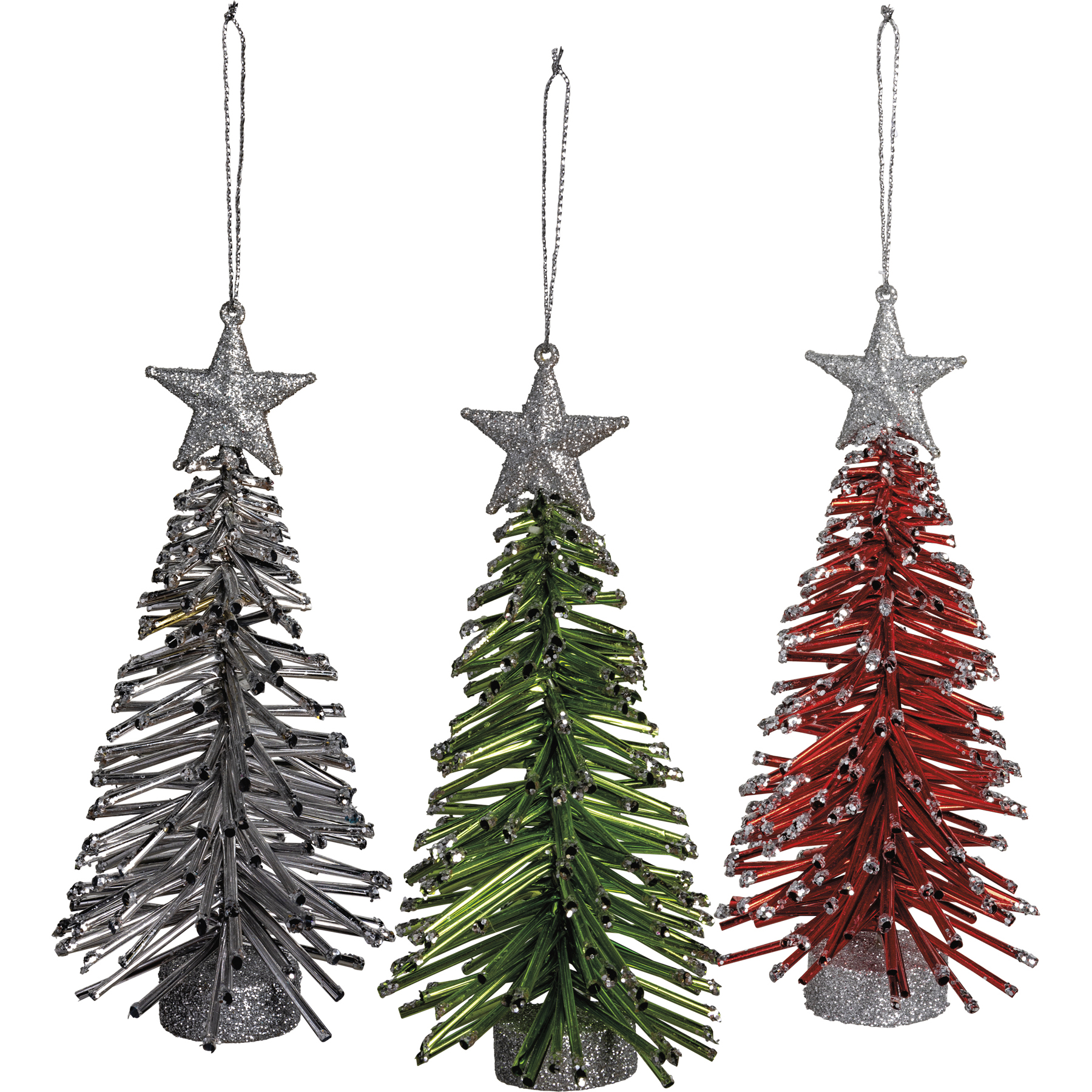 Set Of 3 Red Green Silver Star Topped Hanging Christmas Tree Ornaments From Primitives By Kathy