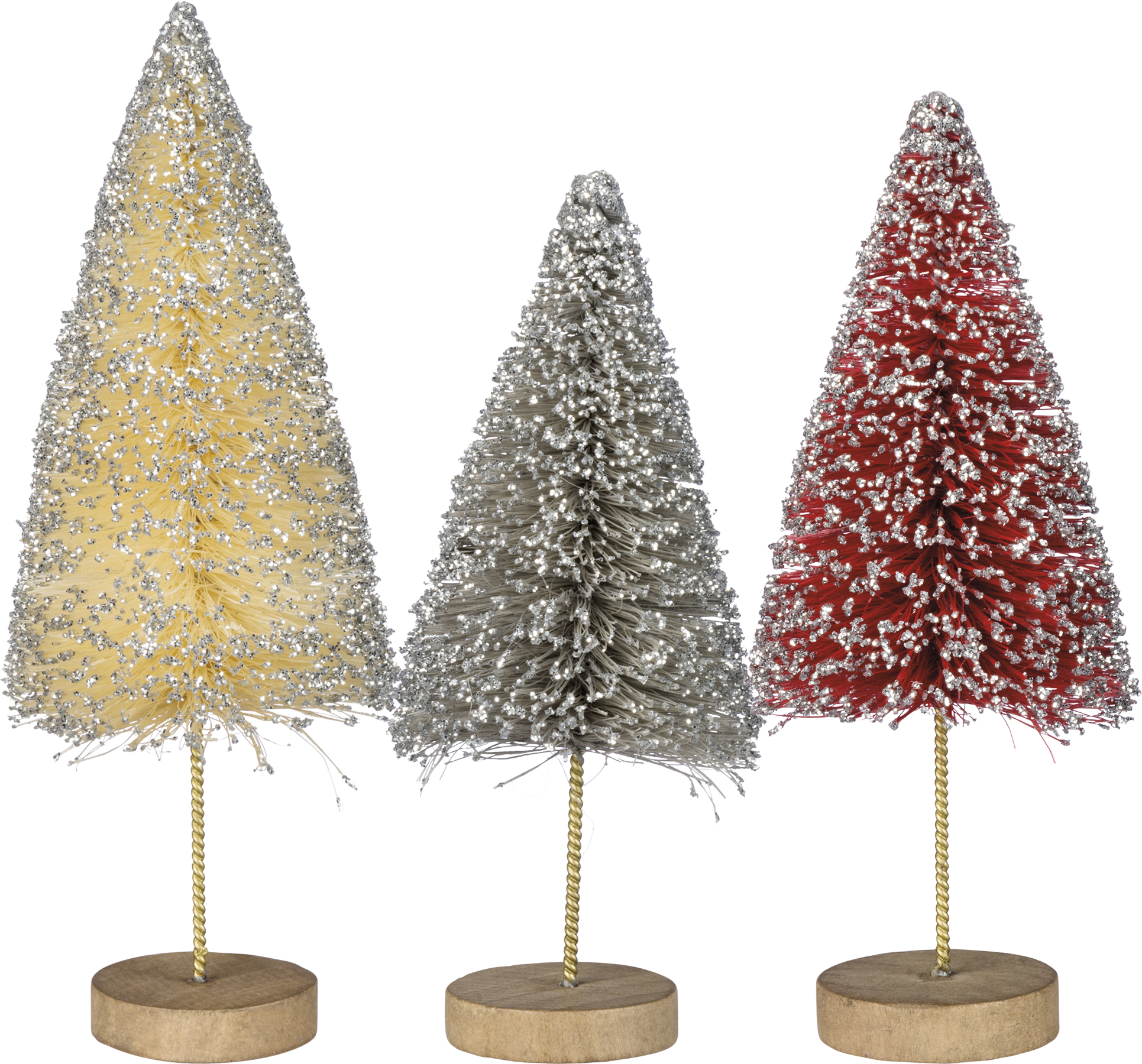 Set Of 3 Standing Bottle Brush Glitter Christmas Tree Figurines From Primitives By Kathy