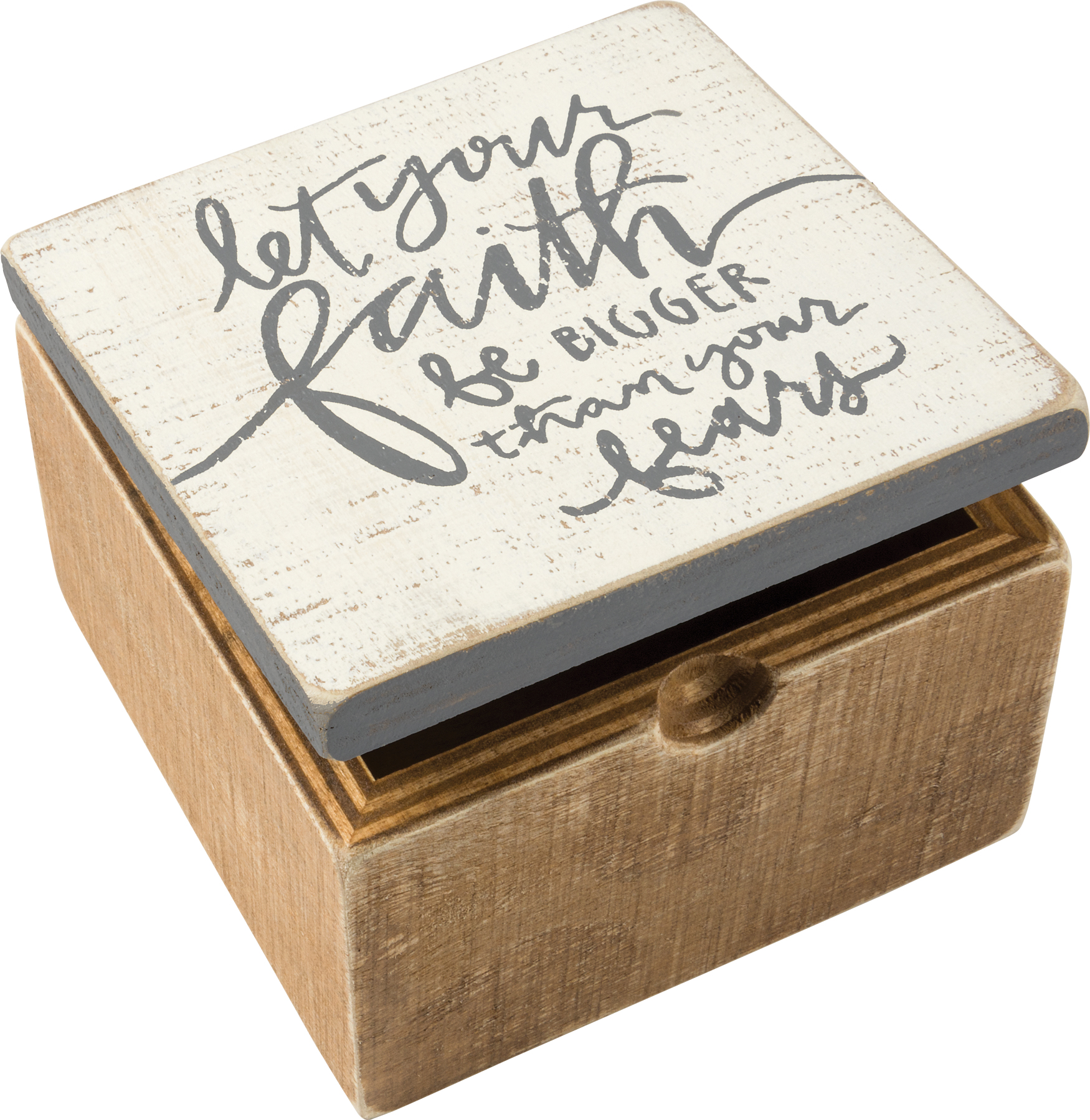 Let Your Faith Be Bigger Than Your Fears Decorative Hinged Wooden Keepsake Box 4x4 From Primitives By Kathy