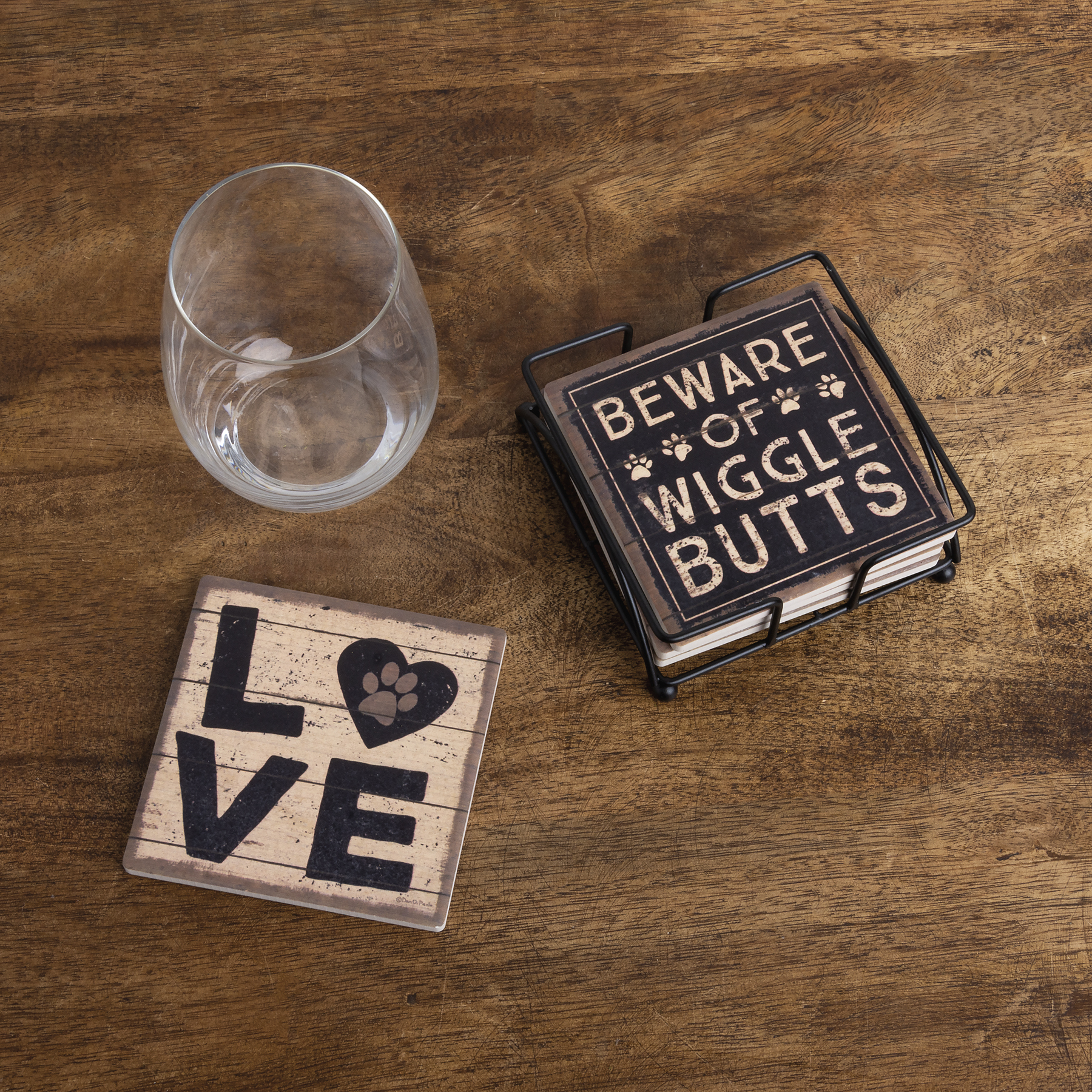 Coasters All you need is Love and a Dog Coral Neoprene Set of 4