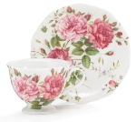 Saddlebrook Pink Rose Porcelain Teacup & Saucer Set from Burton & Burton