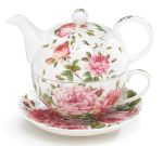 Saddlebrook Pink Rose Porcelain Teapot Cup & Saucer from Burton & Burton