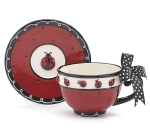 Ladybug Themed Hand Painted Ceramic Ladybug Teacup & Saucer Set from Burton & Burton