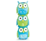 Blue & Green Newborn It's A Boy Hand Painted Resin Owl Vase 8.25 Inch from Burton & Burton