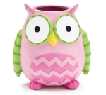 Pink Hand Painted Resin Owl Vase 6 Inch from Burton & Burton