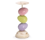 Pastel Stacked Easter Eggs Decorative Candle Holder 9 Inch from Burton & Burton