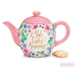 Floral Inspirations Make Today Amazing Ceramic Teapot 37 Oz from Burton & Burton