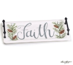Hand Painted Faith Ceramic Rectangle Serving Tray With Handles from Burton & Burton