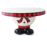 Buffalo Check Footed Snowman Hand Painted Ceramic Cake Plate from Burton & Burton