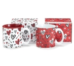 Set of 2 Graffiti Hearts & Arrows Red & White Ceramic Coffee Mugs 13 Oz from Burton & Burton