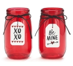 Set of 2 Valentine Red Translucent Pressed Glass Candle Holder Vases (Be Mine & XOXO) from Burton & Burton