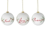 Set of 14 Round Holly Berry Design Hanging Christmas Ornaments (Noel Joy Peace) 3x3 from Burton & Burton