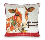 Snowy Farmhouse Cow Design Cream Color Decorative Throw Pillow 17x17 from Burton & Burton
