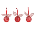 Set of 3 Red Ceramic Round Christmas Ornaments With Striped Bow 4x4 (Peace Joy Merry) from Burton & Burton