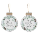 Set of 2 Pinecone Wreath Design Wooden Hanging Christmas Ornaments (Tis The Season & Deck The Halls) from Burton & Burton