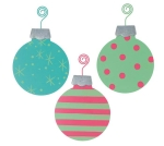 Set of 3 Bright Disc Hanging Tin Christmas Ornaments (Teal & Lime Green & Hot Pink) from Burton & Burton