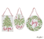 Set of 3 Large Distressed White Wooden Hanging Christmas Ornament Signs (Hope Love Joy) from Burton & Burton