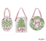 Set of 3 Christmas Greenery Hanging Wooden Ornaments (Love Hope Joy) from Burton & Burton