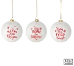Set of 12 White & Red Hanging Christmas Ornaments (Merry Christmas & Cold Outside & Home) from Burton & Burton