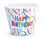 4 Inch Confetti Themed Happy Birthday Melamine Pot Cover from Burton & Burton