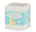 White & Blue Moon Design Welcome Baby Ceramic Planter Nursery Décor from Burton & Burton