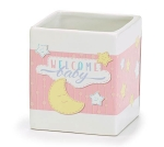 White & Pink Moon Design Welcome Baby Ceramic Planter Nursery Décor from Burton & Burton