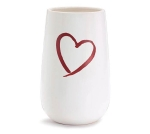 Small White Ceramic Vase With Red Open Heart 7.75 Inch from Burton & Burton