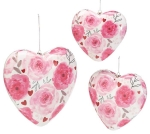 Set of 3 Pink & White Heart Shaped Floral Design Hanging Ornaments from Burton & Burton