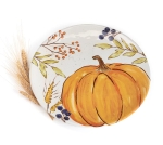 Fall Leaves Berries & Pumpkin Design Hand Painted Ceramic Plate 12 Inch from Burton & Burton