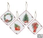 Set of 4 Diamond Shaped Hanging Tin Christmas Ornaments 5.25 Inch (Wreath & Xmas Tree & Bells & Sleigh0