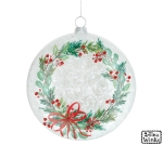Green Wreath & Berries Design Hand Blown Glass Hanging Christmas Ornament 5 Inch from Burton & Burton