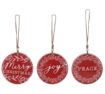 Set of 3 Red & White Wooden Disk Christmas Ornaments 4 Inch (Merry Christmas & Joy & Peace)