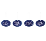 Set of 4 Blue & Silver Starry Night Oval Shape Ceramic Christmas Ornaments (All Is Calm & Holy Night & Merry Xmas & Silent Night)