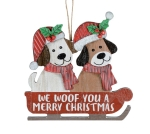 Dog Lover We Woof You A Merry Christmas Hanging Wooden Ornament 7 Inch from Burton & Burton
