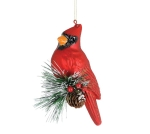 Red Cardinal On Pine Cone Decorative Hand Blown Glass Christmas Ornament 6 Inch from Burton & Burton