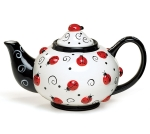 Ladybug & Swirls Design Decorative Hand Painted Ceramic Teapot 46 Oz from Burton & Burton
