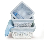 3 Piece White Willow Nested With Blue Cotton Linings Baby Boy Basket Set  from Burton & Burton