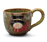 Green & Brown Glazed Snowman Ceramic Soup Mug 30 Oz from Burton & Burton