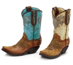 Set of 2 Hand Painted Resin Decorative Cowboy Boot Vases 9.25 Inch from Burton & Burton
