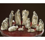 10 Piece Hand Painted Taupe Stone Resin Nativity Figurine Set from Burton & Burton