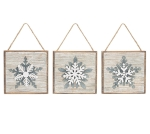 Set of 3 Distressed Look Wood & Tin Snowflake Hanging Christmas Ornaments 5 Inch from Burton & Burton