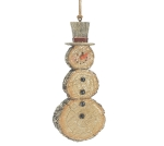 Wood Disc Look Resin Stoneman Hanging Christmas Ornament 7.25 Inch from Burton & Burton