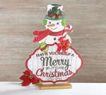 Large Wooden Decoupage Snowman Sign (Have Yourself A Merry Little Christmas) 22 Inch from Burton & Burton