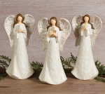 Set of 3 Wood Carved Look Decorative Resin Angel Figurines (Dove & Cross & Pray) 8.25 Inch Tall