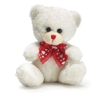 Small White Plush Teddy Bear With Red Stitched Nose And Ribbon 4.5 Inch from Burton & Burton