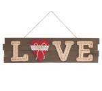 Love Sentiment Heart Accent Decorative Wood Slat Hanging Sign 6x10 from Burton & Burton